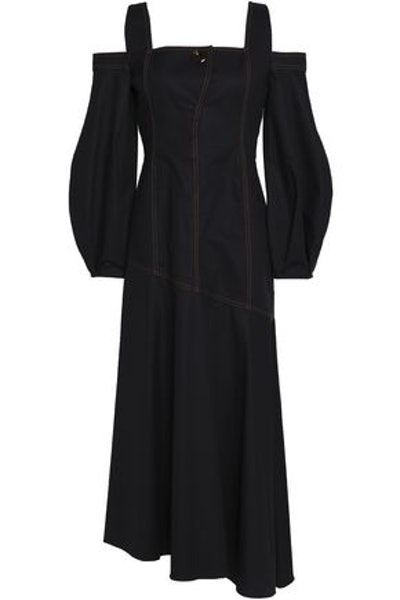 Ellery Cold-Shoulder Stretch-Cotton Maxi Dress