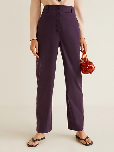 Buttoned Soft Fabric Trousers