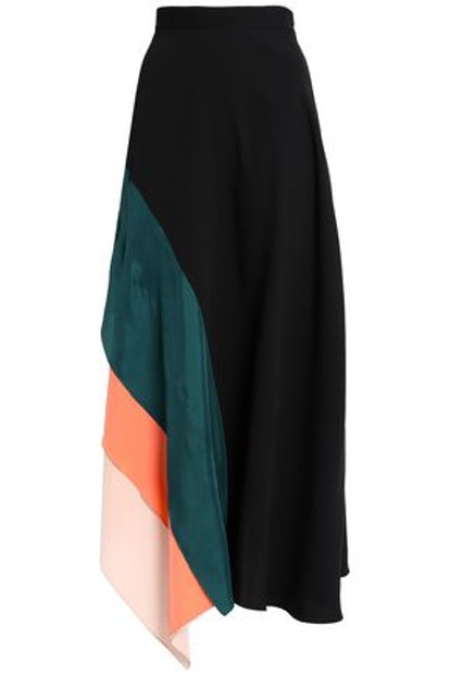 Roksanda Layered Color-Block Silk Crepe de Chine Maxi Skirt