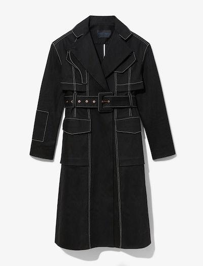Topstitch Denim Trench Coat