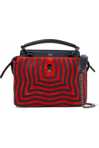 Fendi Dotcom Leather-Appliquéd Suede Shoulder Bag