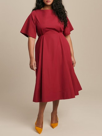 Short Sleeve Midi Dress with Cut Out Back