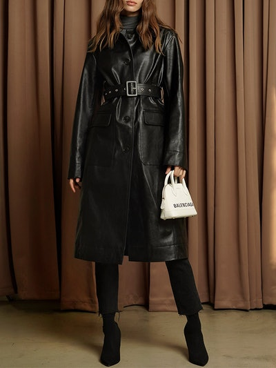 Black Vegan Leather Trench Coat