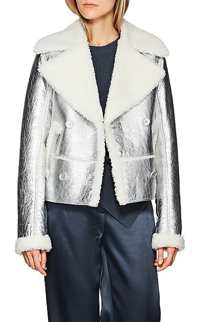 Foil Shearling Double-Breasted Coat