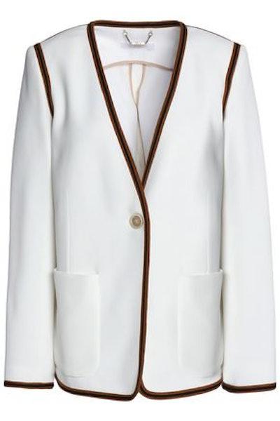 Chloé Woven-Trimmed Crepe Jacket