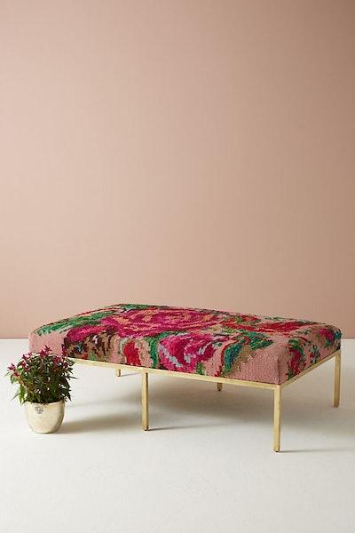 Floral Silk Carpet Ottoman