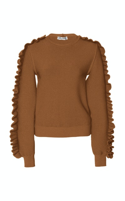 Nido Ruffled Crepe Knit Sweater