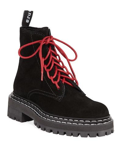 Suede Lace-Up Combat Boots