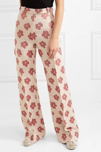 Carrie Floral-Jacquard Wide-Leg Pants