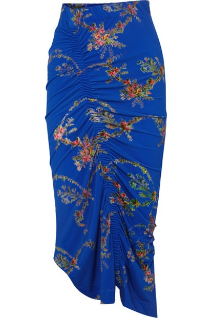 Tracy Ruched Floral-Print Stretch-Crepe Midi Skirt