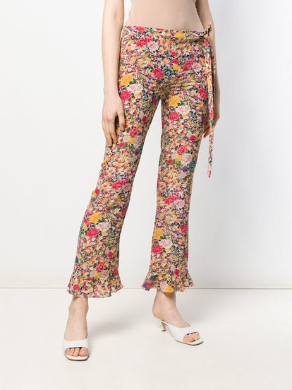 Flower Print Flare Trousers