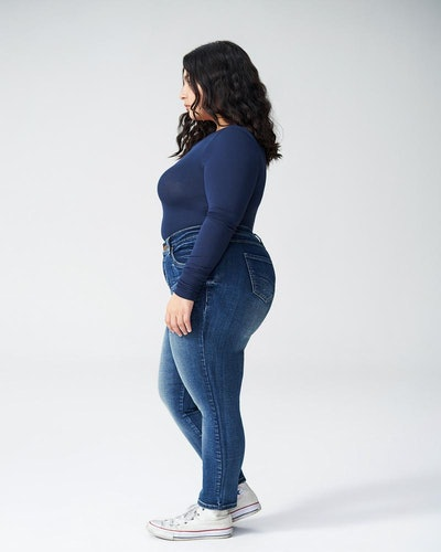 Seine High-Rise Skinny Jeans Petite Distressed Blue