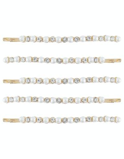 5 x Pearl & Diamante Hair Slides