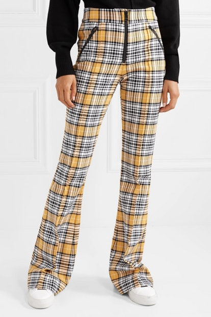 Fraser Checked Cotton-Blend Flared Pants