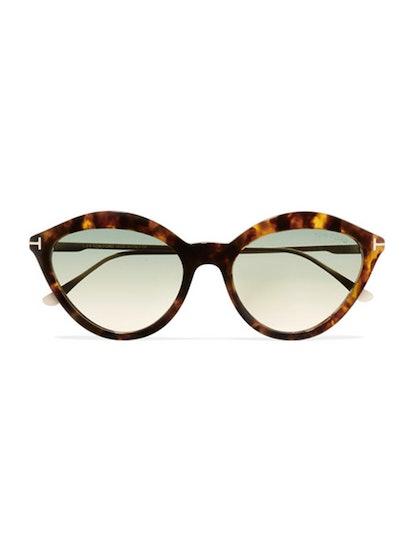 Cat-Eye Tortoiseshell Acetate And Gold-Tone Sunglasses