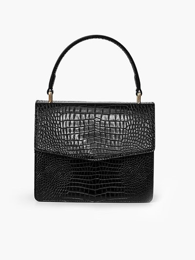 Black Faux Crocodile Crossbody Bag