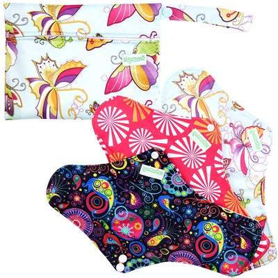 Wegreeco Nighttime Reusable Sanitary Pads, 3 Count