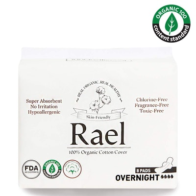 Rael Organic Cotton Overnight Pads, 8 Count (2-Pack)