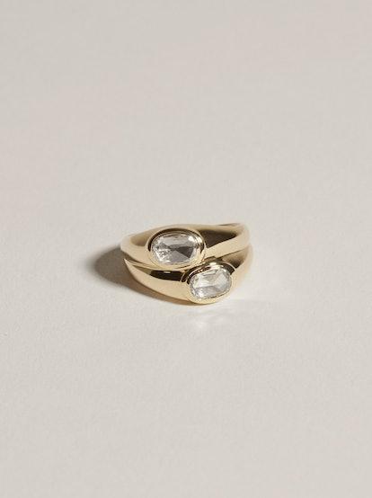 Duo Face Ring  (Rosecut Diamonds), 14k Yellow