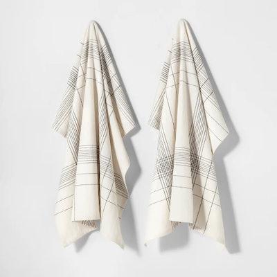 Flour Sack Kitchen Towel Plaid Black - Hearth & Hand with Magnolia, 2pk