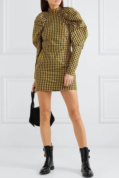 Gathered Checked Twill Mini Dress