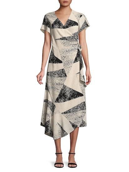 H Halston  Short-Sleeve Wrap Dress With Asymmetrical Hem