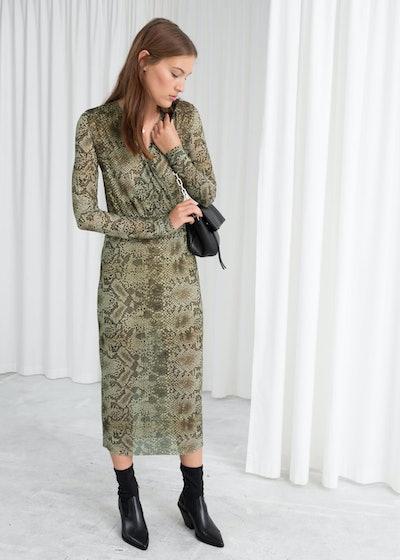 Snake Print Mesh Midi Dress