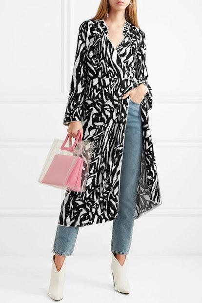Cindy Zebra-Print Crepe Wrap Dress