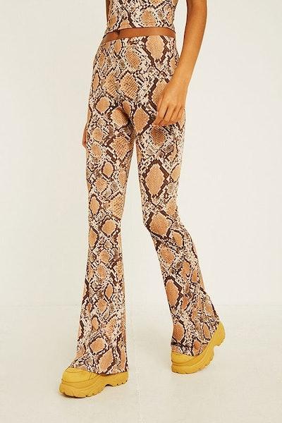 Urban Renewal Snake Print Mega Flare Trousers