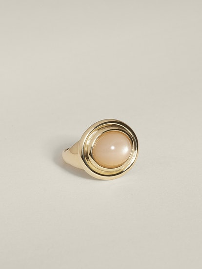 Duet Cocktail Ring (Peach Moonstone), 14k Yellow