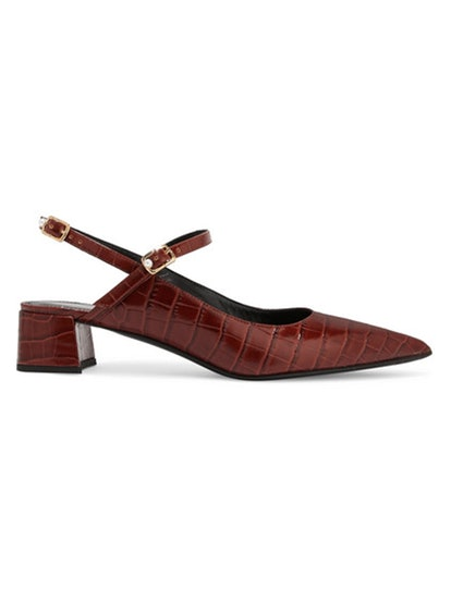 Aerin Croc-Effect Glossed-Leather Slingback Pumps