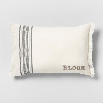 Bloom Reversible Throw Pillow Stripe Cream / Gray - Hearth & Hand with Magnolia