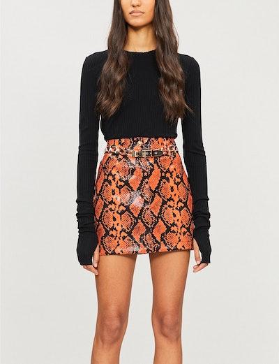 Jaded London Snakeskin Print PVC Skirt
