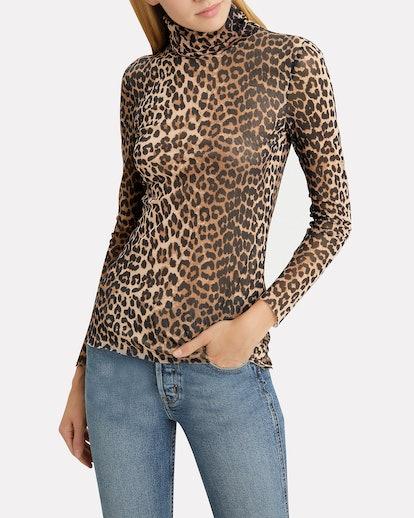 Printed Mesh Leopard Turtleneck