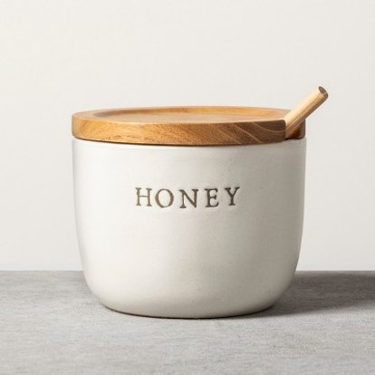 Stoneware Honey Pot with Acacia Wood Dipper and Lid - Hearth & Hand with Magnolia