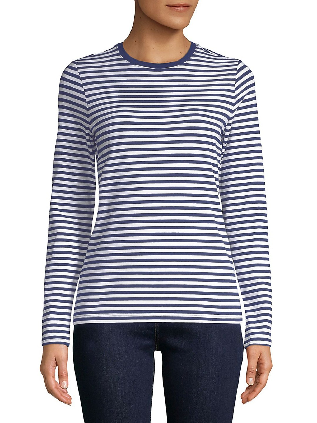 Lord & Taylor  Long-Sleeve Essential Striped Crew Neck Tee