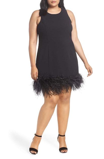 Chelsea28 Feather Hem Sheath Dress