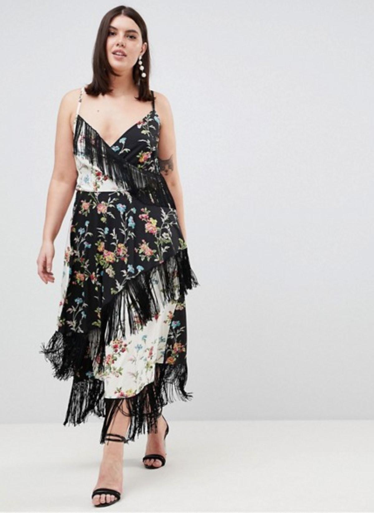 ASOS DESIGN Curve Fringe Cami Midi Dress in Mixed Floral Print