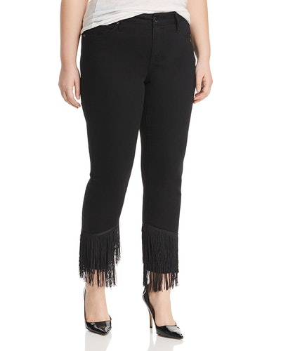 Fringe-Hem Slim Straight-Leg Jeans In Virtual