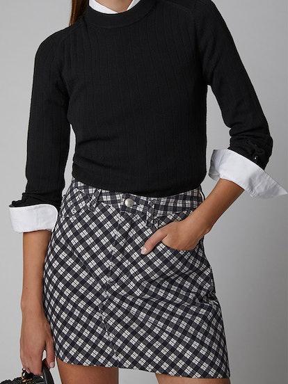 Checkered Cotton-Blend Mini-Skirt