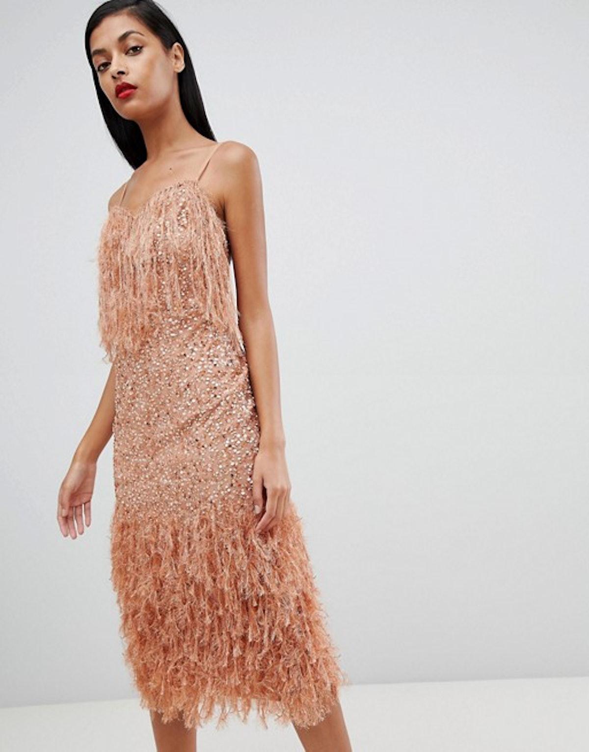 ASOS DESIGN Feather Trim Sequin Midi Dress