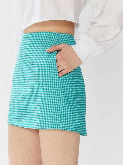 Gingham Side-Pocket Mini Skirt