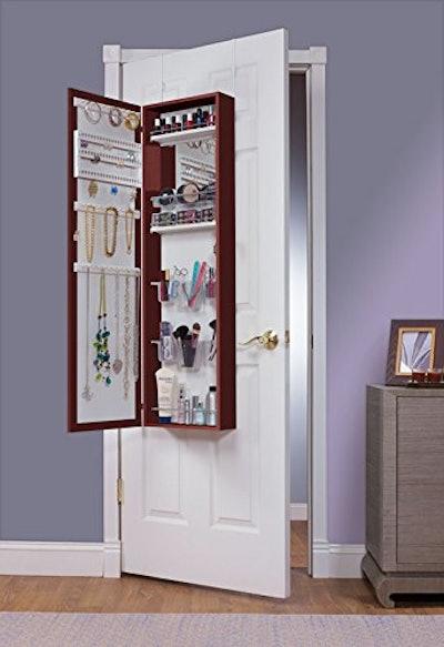 Mirrotek Over The Door Combination Jewelry and Makeup Armoire