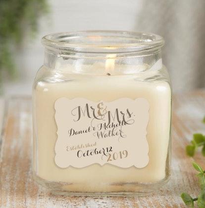Personalized Mr. & Mrs. Vanilla Bean Candle Jar