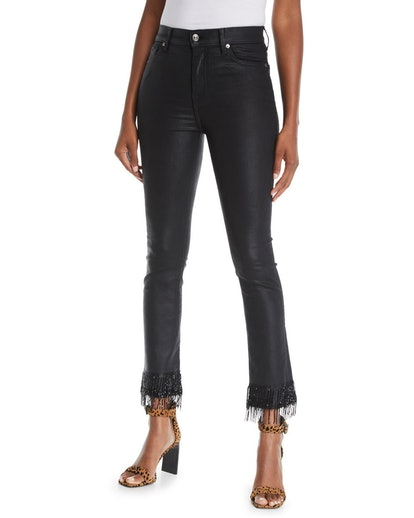 Edie Coated Skinny Jeans With Beaded Fringe