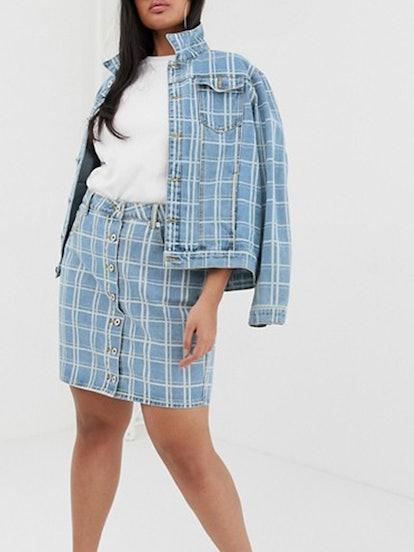 Plus Button Detail Denim Skirt In Check