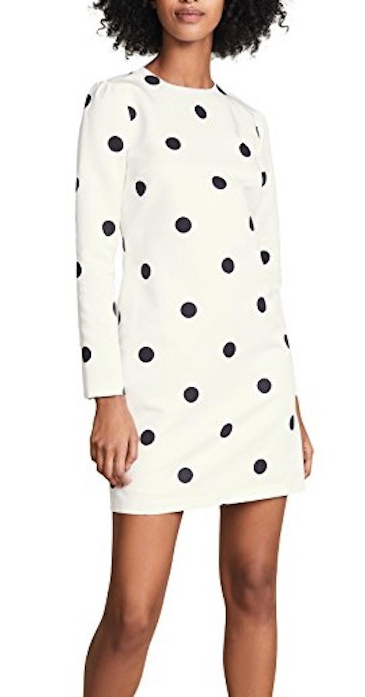 Polka Dot Long Sleeve Shift Dress
