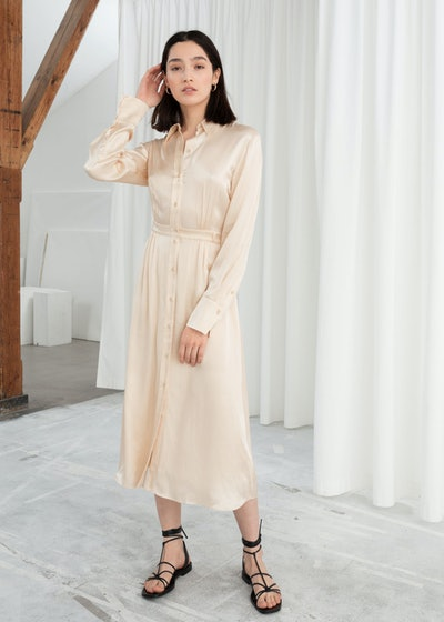 & other stories Belted Satin Midi Dress
