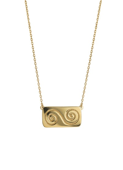 18 K Gold Plated Double Spiral Necklace