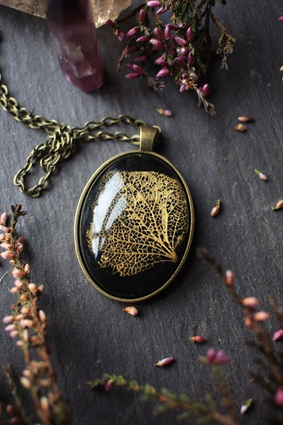 Vintage Style Hydrangea leaf necklace with eco resin, golden leaf, made in Ireland